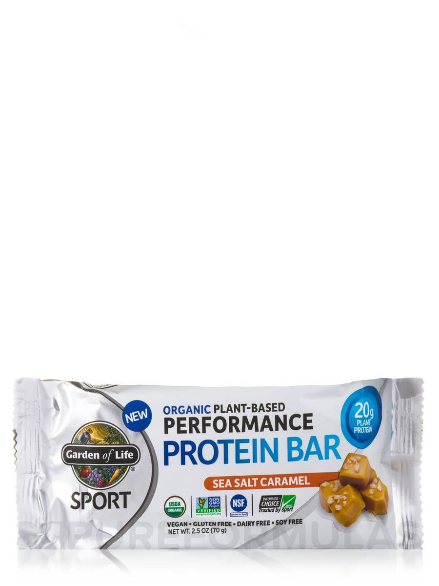Sport Organic Plant Based Performance Protein Bar Sea Salt Caramel Box Of 12 Bars 2 5 Oz
