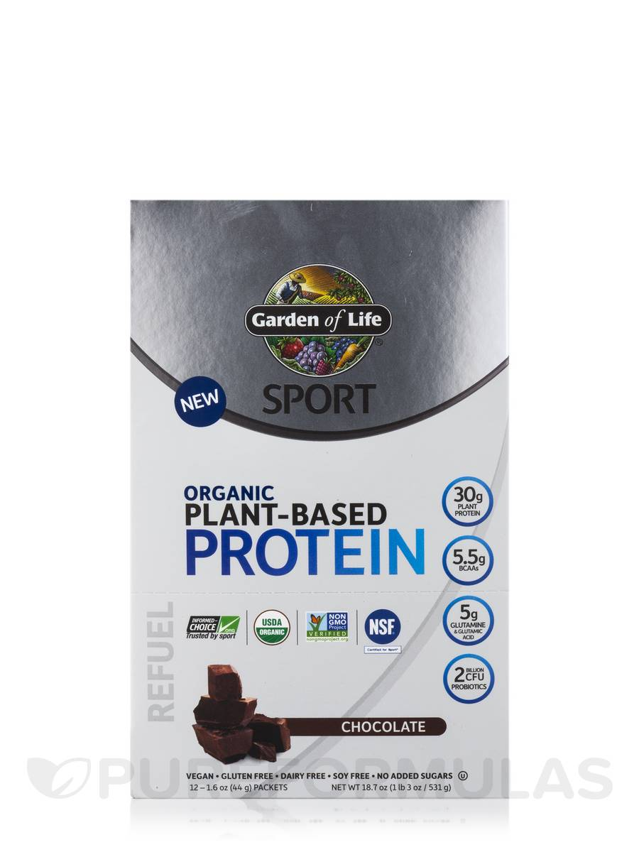 Sport Organic Plant Based Protein Chocolate Box Of 12 Packets 1 6 Oz 44 Grams Each