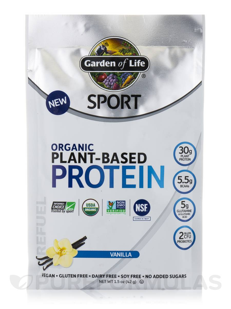 Sport Organic Plant Based Protein Vanilla Box Of 12 Packets 1 5 Oz 42 Grams Each