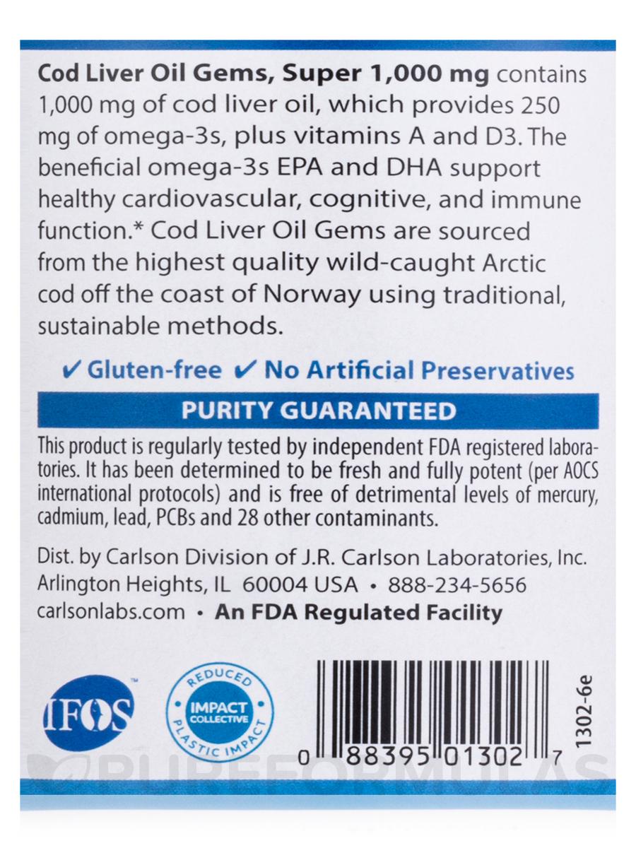 Cod Liver Oil Gems Super 1000 Mg 250 Soft Gels