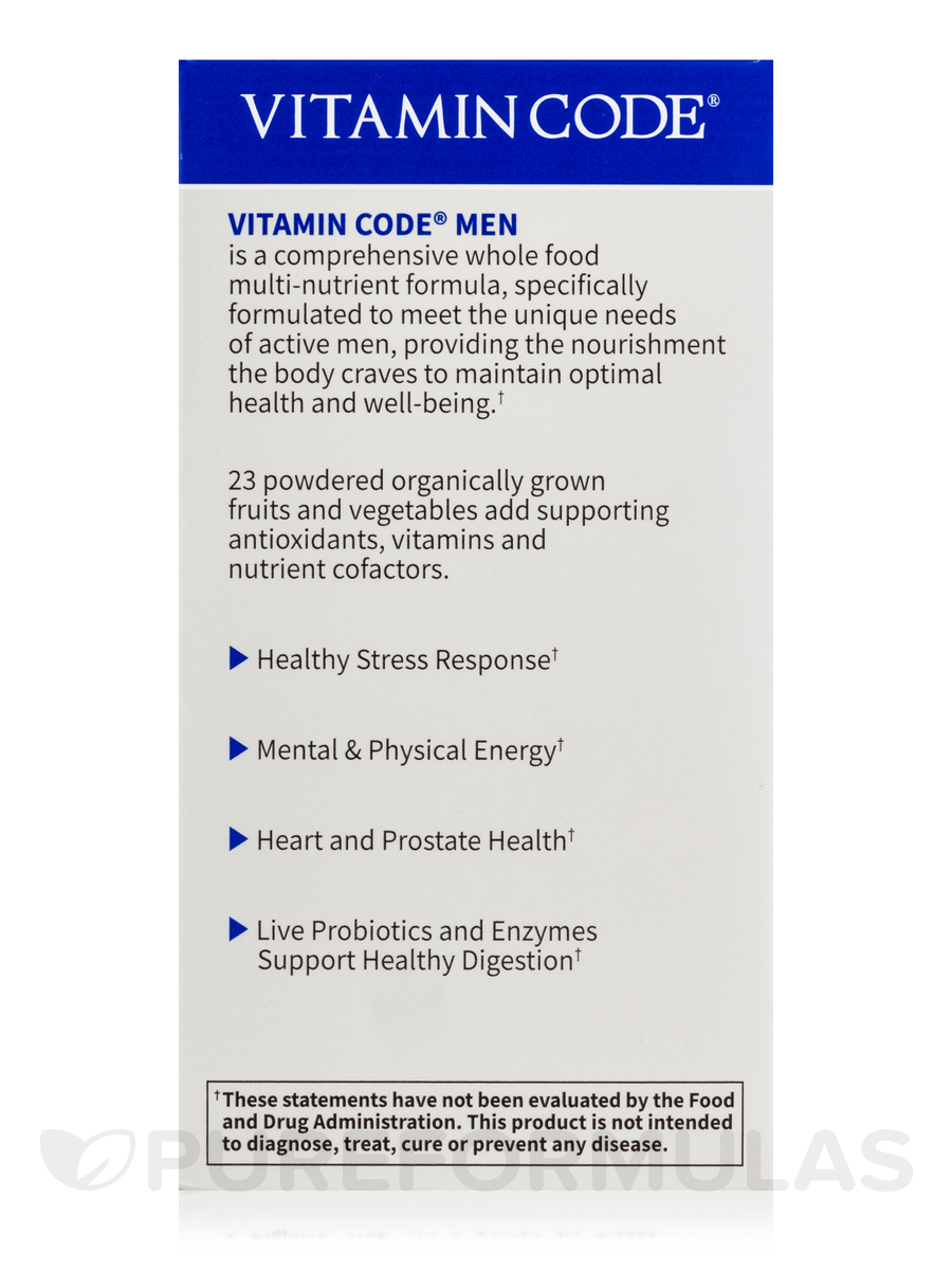 Vitamin code men 39 s multi 240 vegetarian capsules - Garden of life multivitamin for men ...