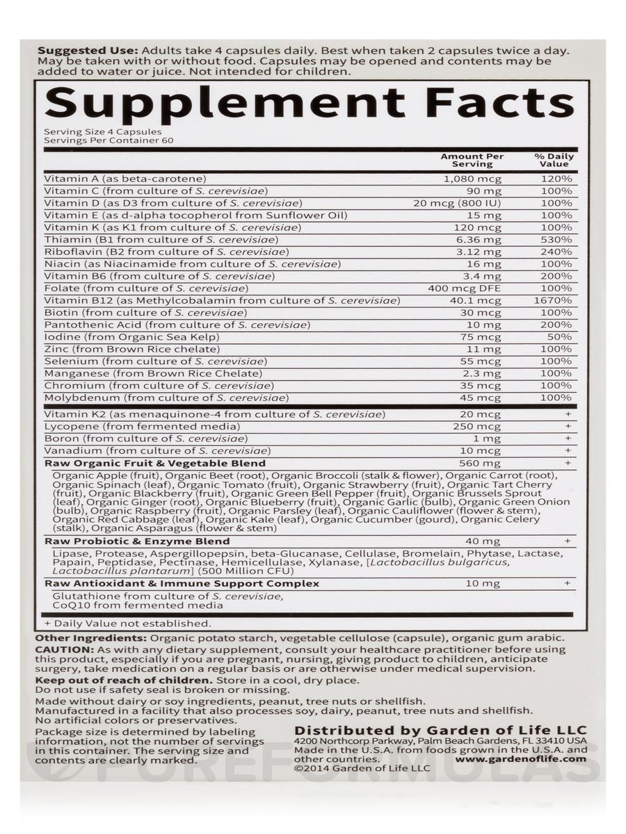 Vitamin Code Men 39 S Multi 240 Vegetarian Capsules