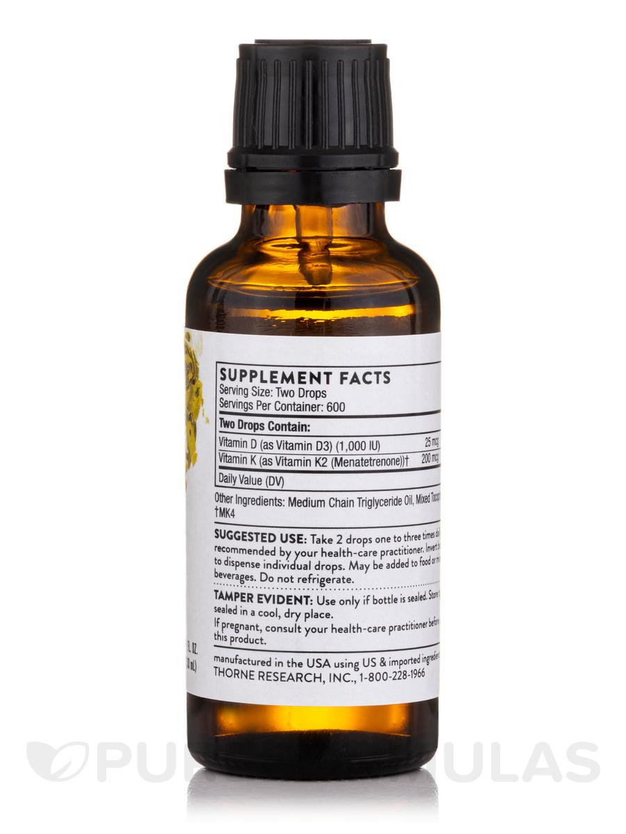 Vitamin D K2 Liquid 1 Fl Oz 30 Ml