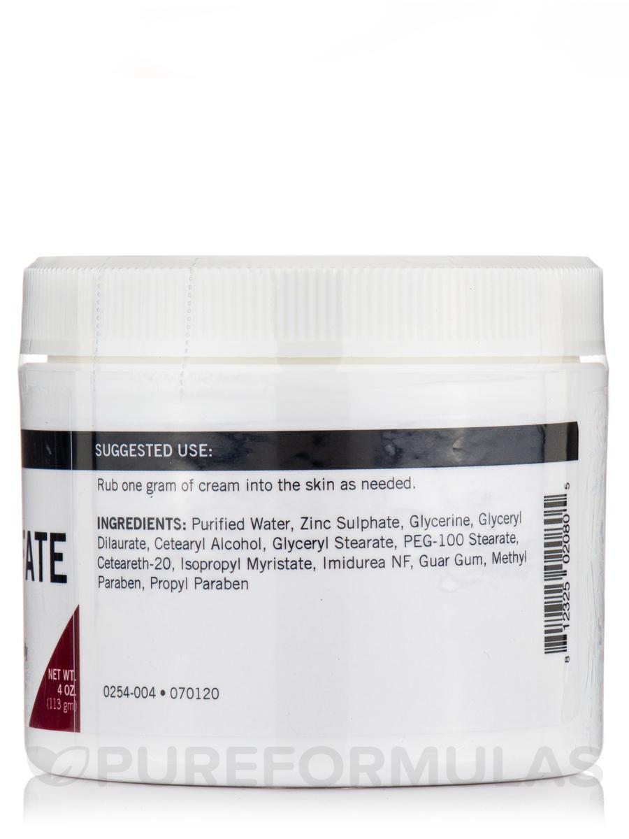 Zinc Sulfate Topical Cream 4 Oz 113 Grams