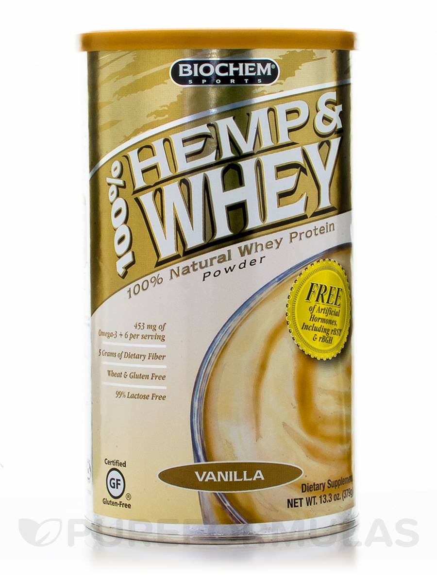100% Hemp & Whey Powder, Vanilla Flavor - 13.3 oz (379 Grams)