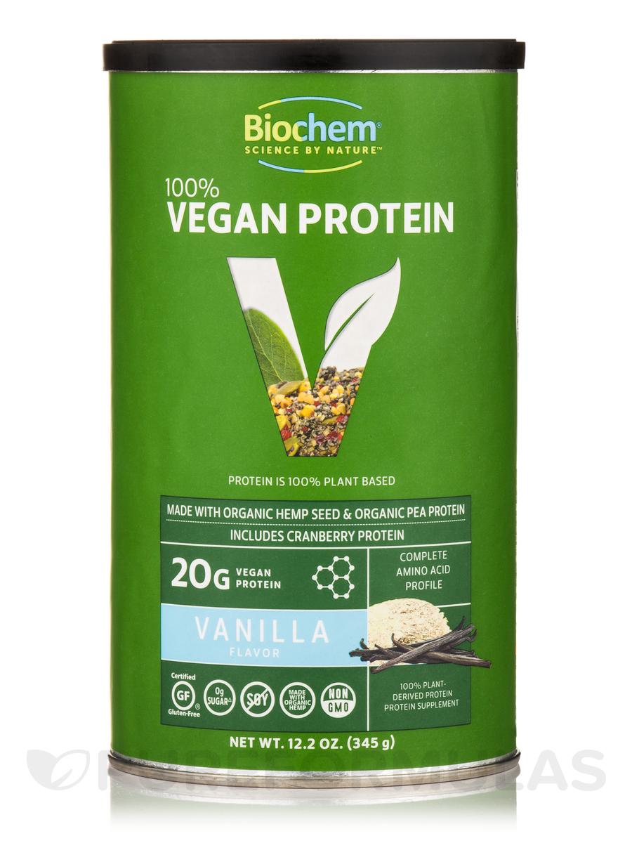 100% Vegan Protein Powder, Vanilla Flavor - 12.2 oz (345 Grams)