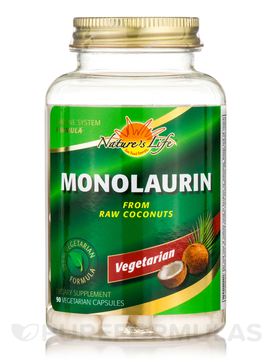 Monolaurin from Raw Coconuts - 90 Vegetarian Capsules