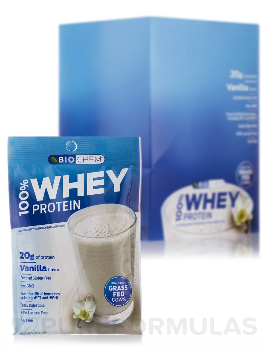 100% Whey Protein Powder, Vanilla Flavor - 10 Packets