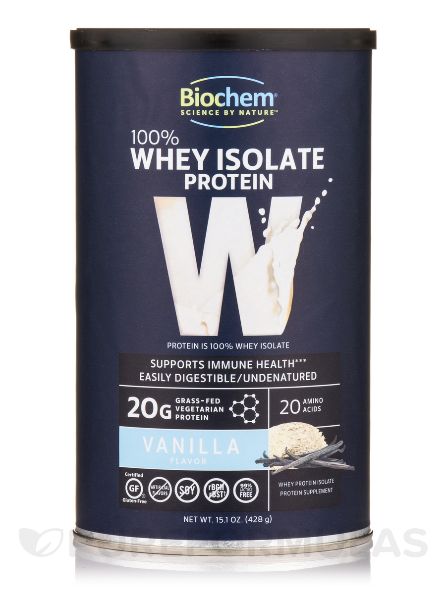 100% Whey Isolate Protein Powder, Vanilla Flavor - 15.1 oz (428 Grams)