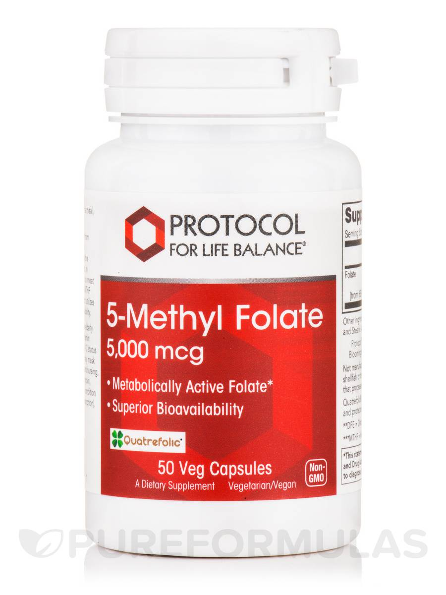 5-Methyl Folate 5,000 mcg - 50 Veg Capsules
