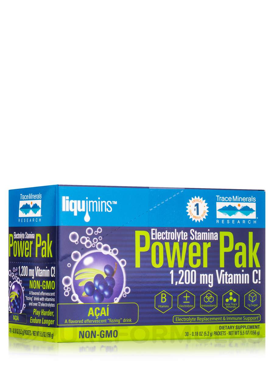 Electrolyte Stamina Power Pak with 1200 mg Vitamin C, Acai Berry Effervescent Flavor - Box of 30 Packets