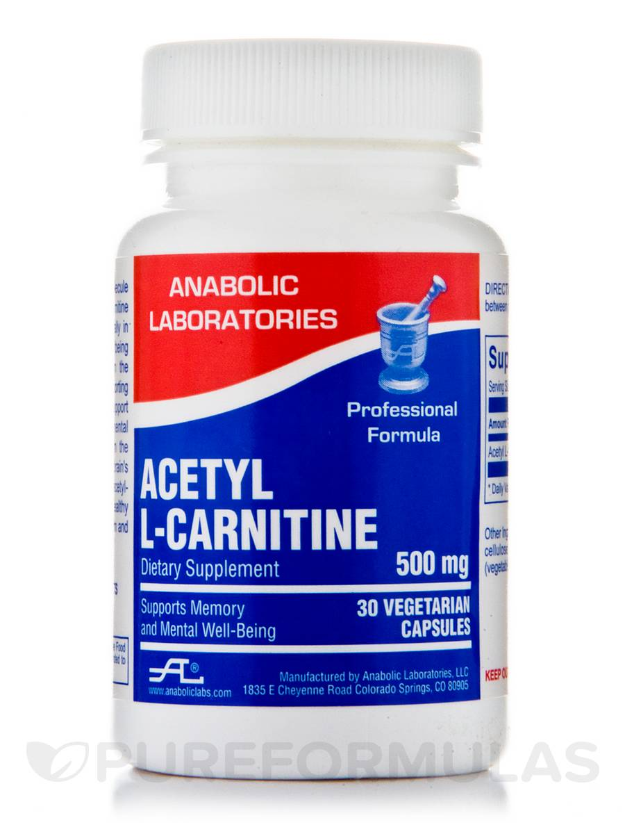 Acetyl L-Carnitine 500 mg - 30 Vegetarian Capsules