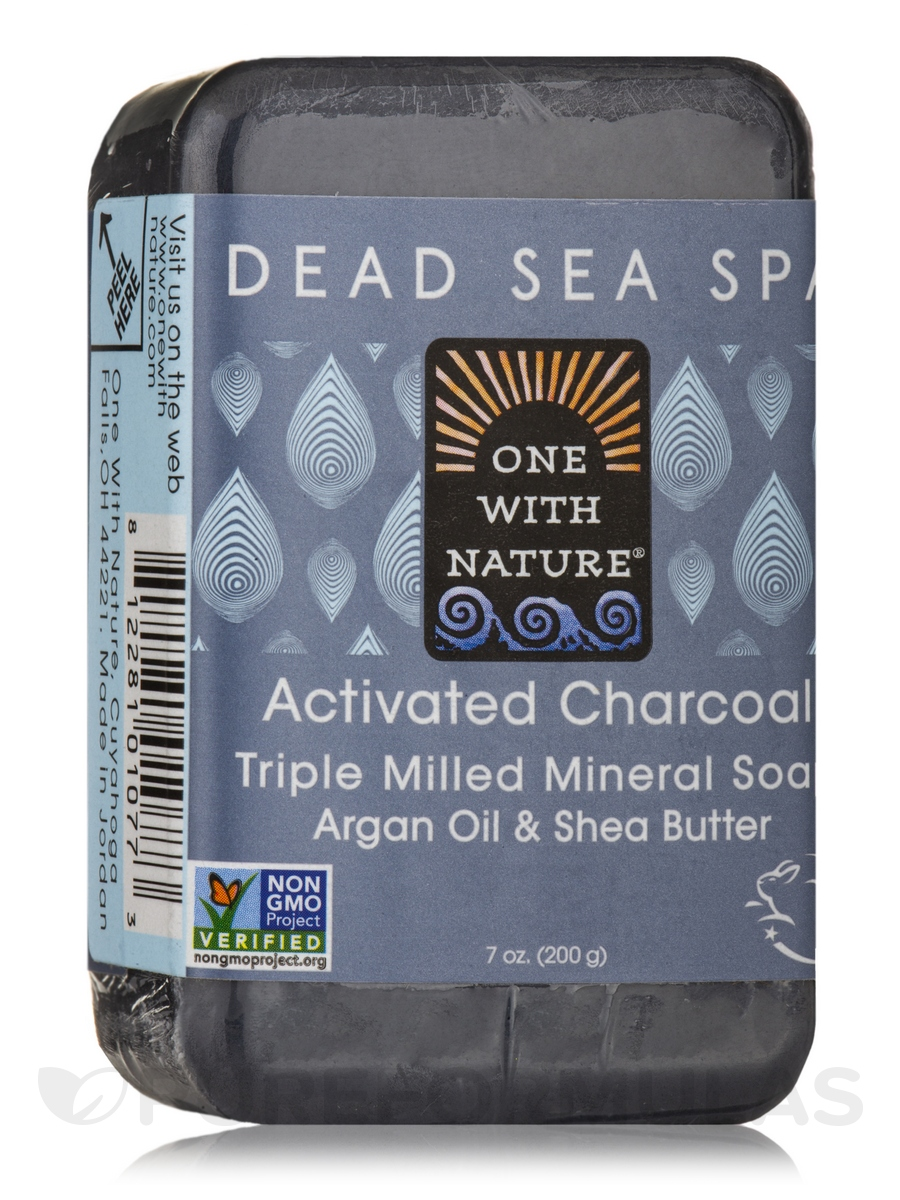 Activated Charcoal - Triple Milled Mineral Soap Bar with Argan Oil & Shea Butter - 7 oz (200 Grams)