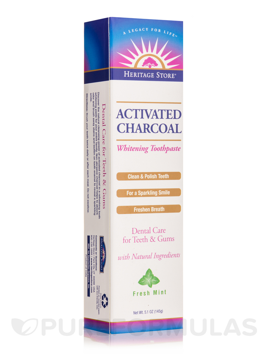 Activated Charcoal Whitening Toothpaste, Fresh Mint - 5.1 oz (145 Grams)