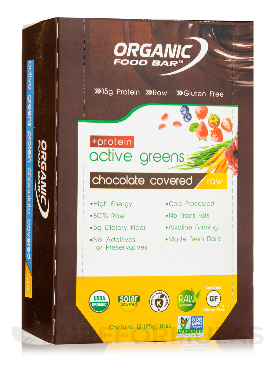 Active Greens + Protein Food Bar, Chocolate Covered - 1 Box of 12 Bars