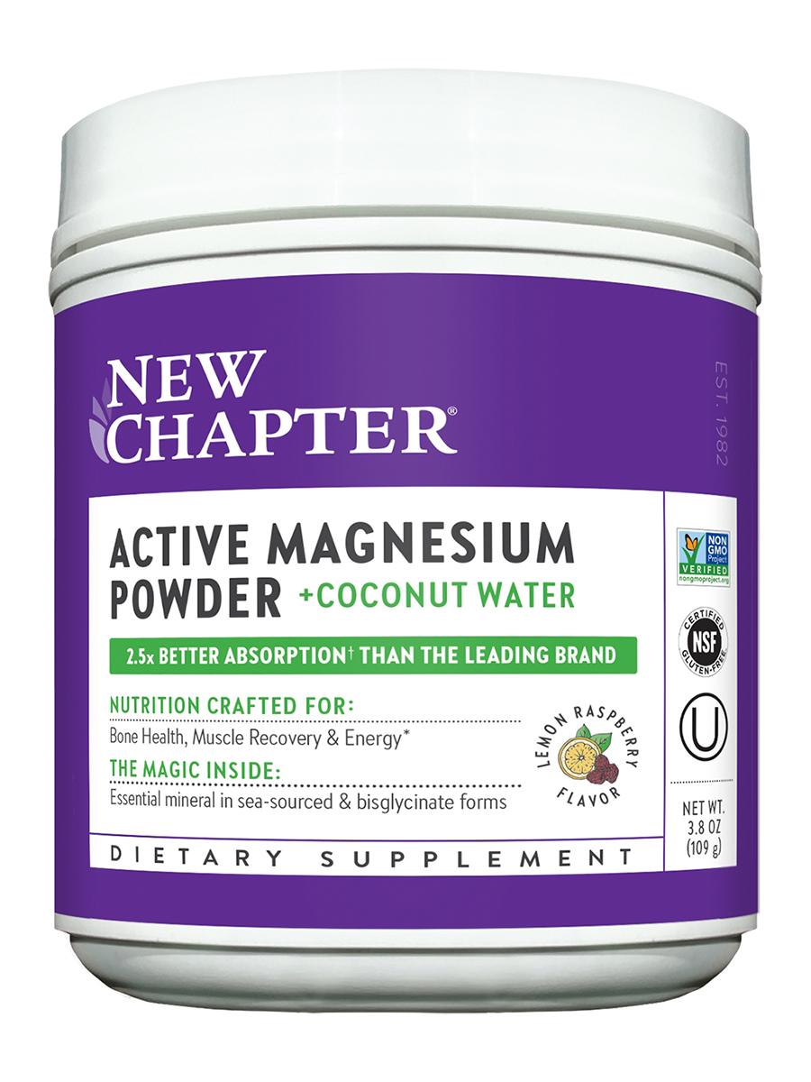 Active Magnesium Powder + Coconut Water, Natural Lemon Raspberry Flavor - 3.8 oz (109 Grams)