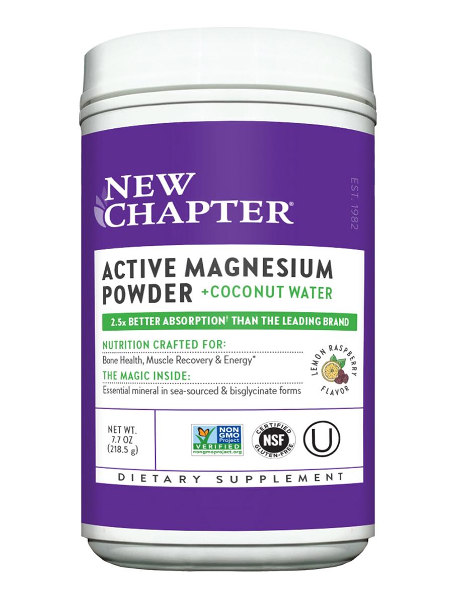 Active Magnesium Powder + Coconut Water, Natural Lemon Raspberry Flavor - 7.7 oz (218.5 Grams)