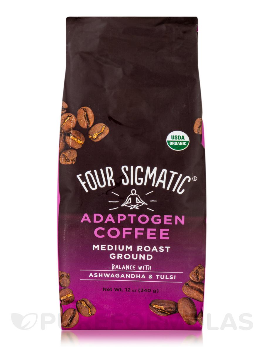 Adaptogen Coffee with Ashwagandha & Tulsi - Medium Roast Ground - Medium + Caramel Flavor - 12 oz (340 Grams)