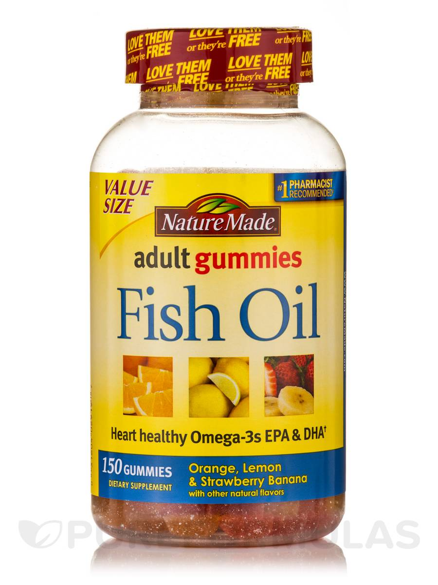 Adult gummies fish oil assorted flavors 150 gummies for Nature made fish oil gummies