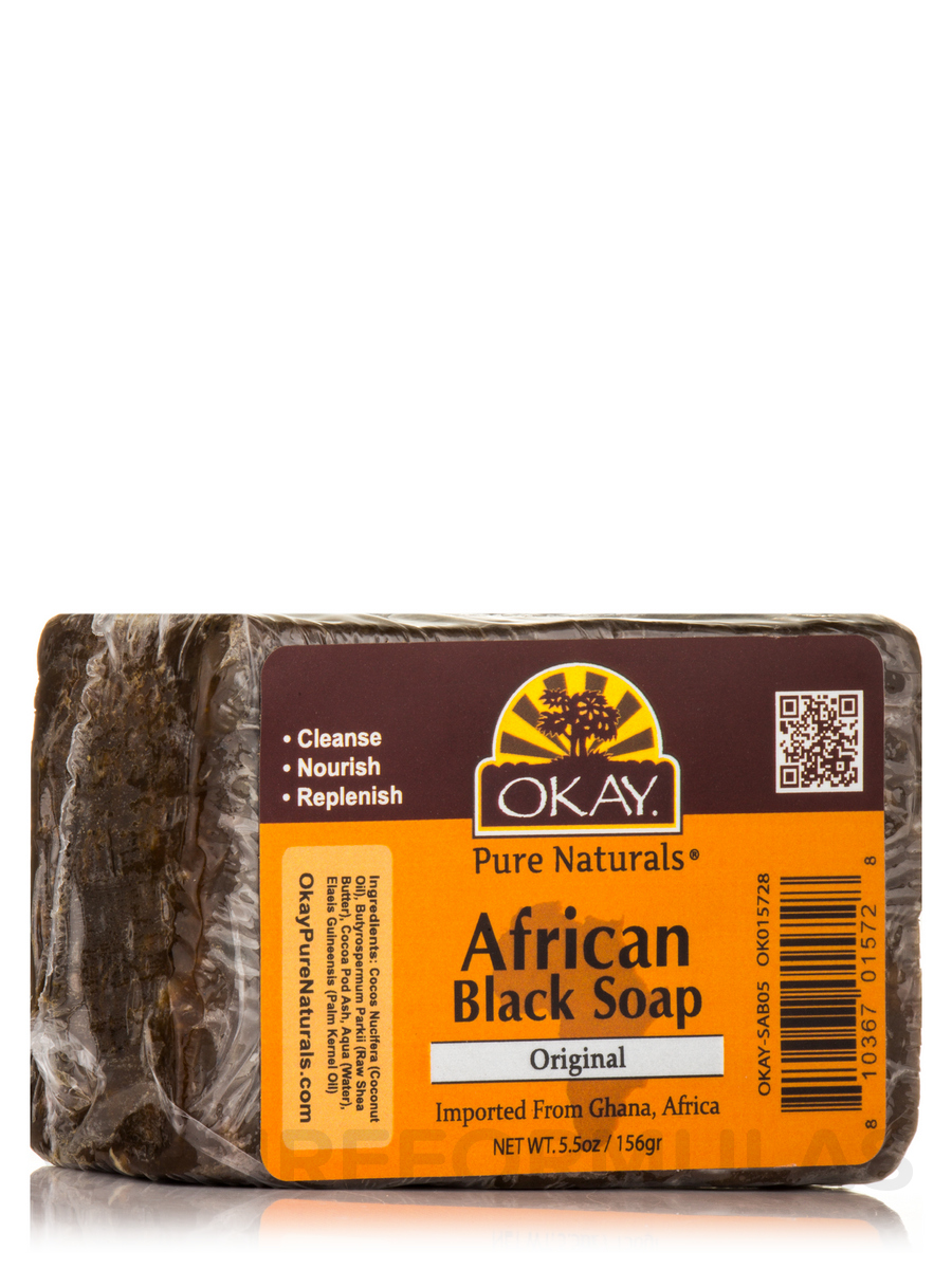 African Black Soap Bar, Original - 5.5 oz (156 Grams)