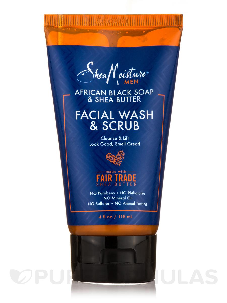 African Black Soap & Shea Butter Facial Wash & Scrub - 4 fl. oz (118 ml)