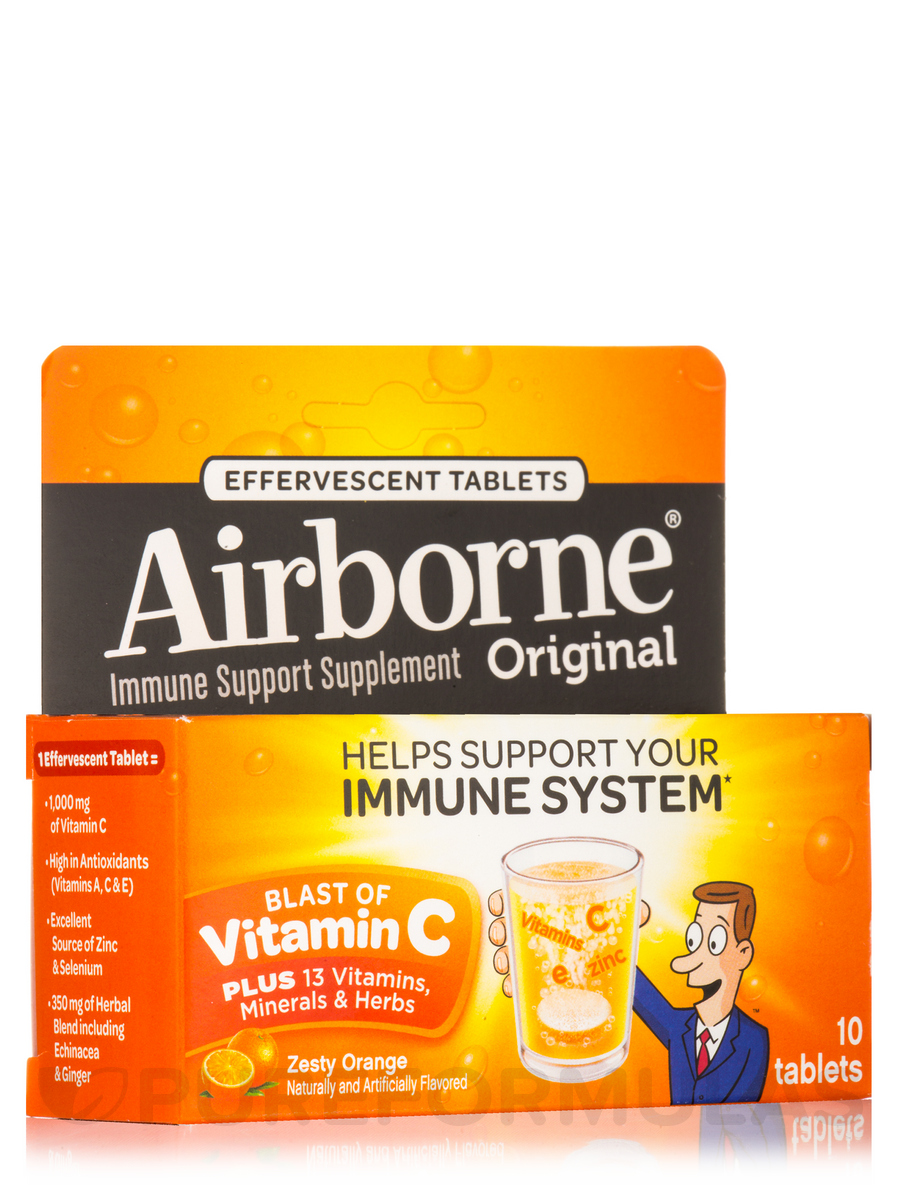 Airborne® Immune Support Effervescent Tablets, Zesty Orange Flavor - 10 Tablets