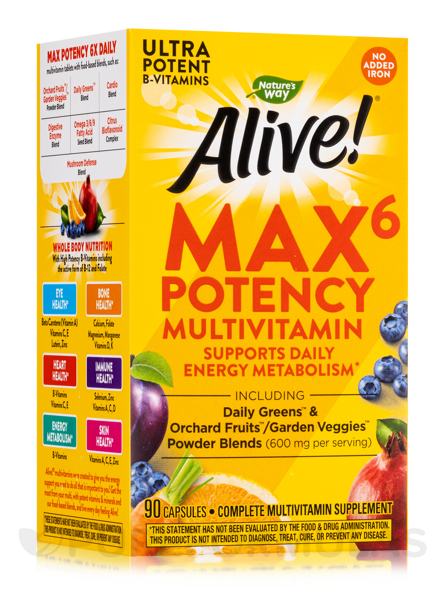 Alive!® Multi-Vitamin (No Iron Added) - 90 Vegetarian Capsules
