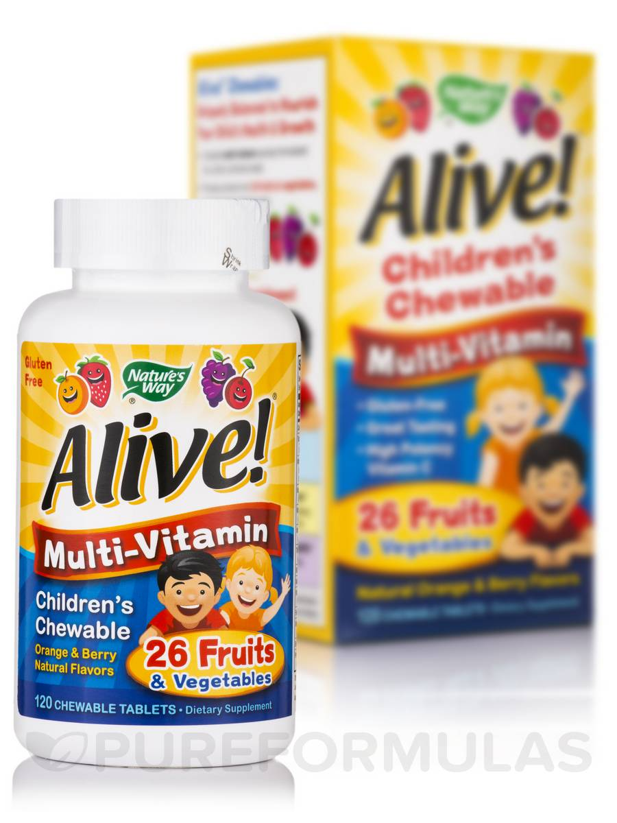 Alive!® Children's Multi-Vitamin Chewable, Orange & Berry Natural Flavors - 120 Chewable Tablets