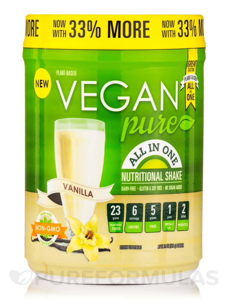 Plant-Based Vegan Pure™ All-In-One Nutritional Shake, Vanilla Flavor - 19.4 oz (549 Grams)