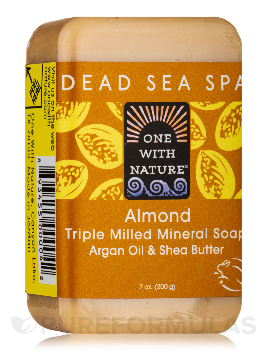 Almond - Triple Milled Mineral Soap Bar with Argan Oil & Shea Butter - 7 oz (200 Grams)