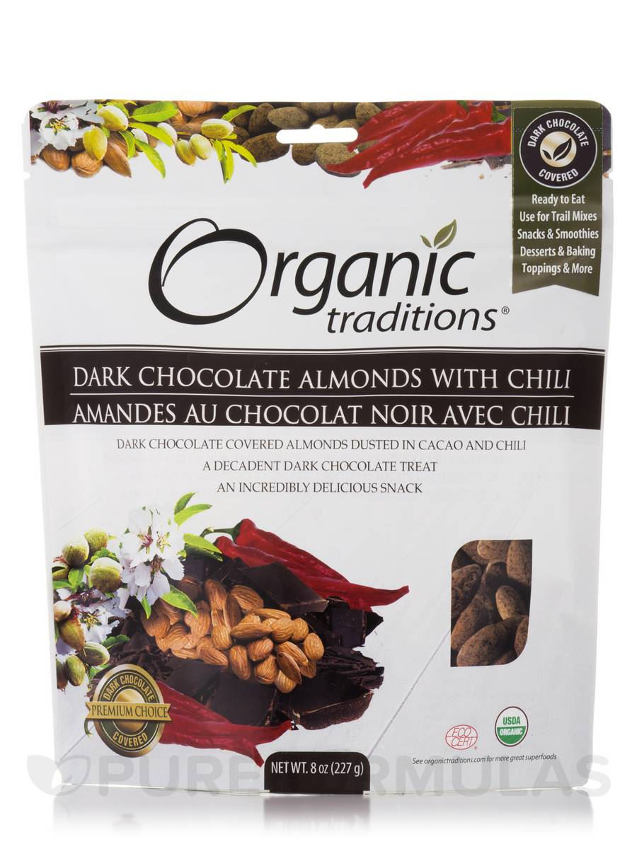 Dark Chocolate Almonds with Chili - 8 oz (227 Grams)