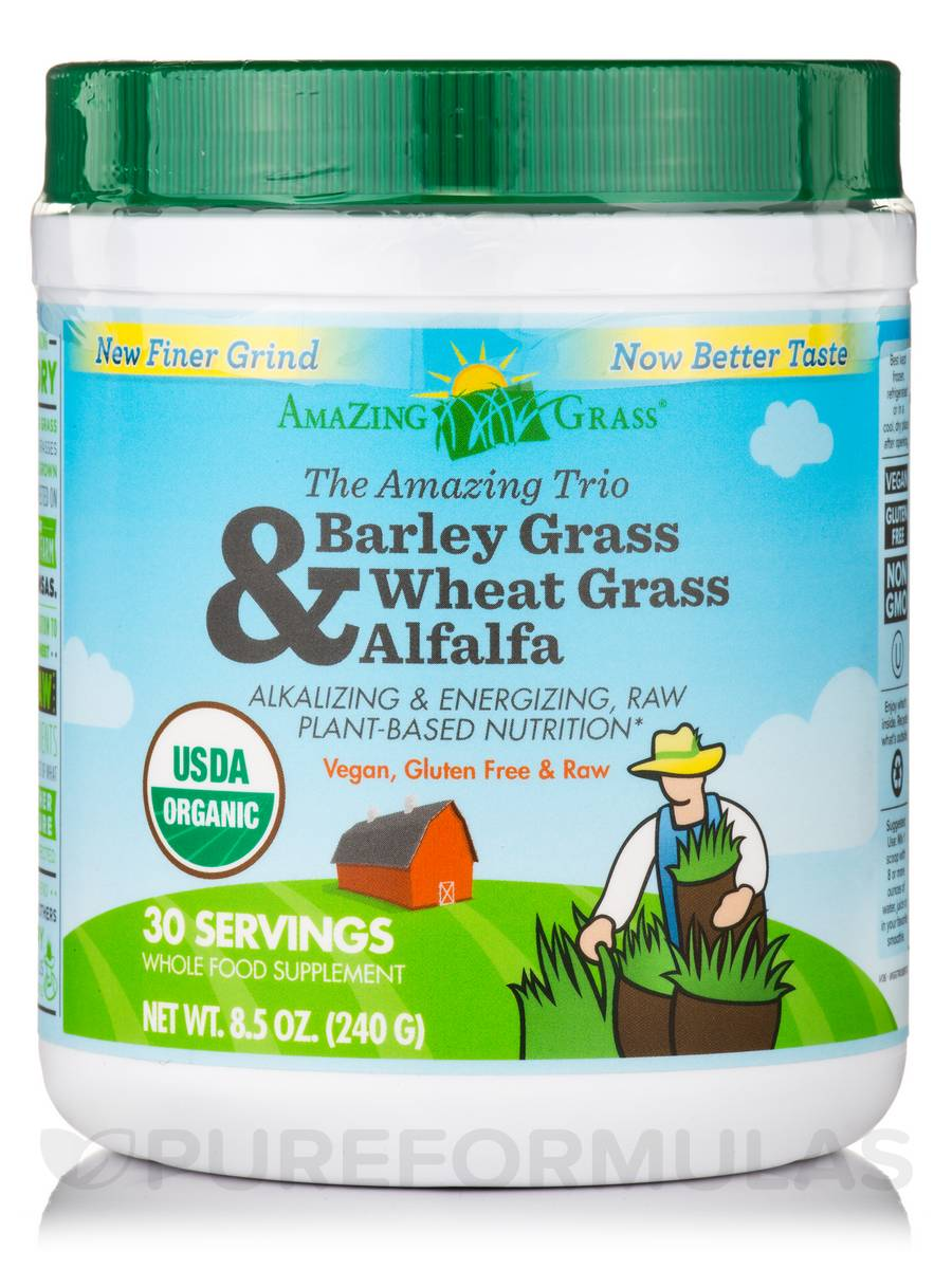 Amazing Trio Powder (Barley Grass, Wheat Grass & Alfalfa) - 30 Servings (8.5 oz / 240 Grams)
