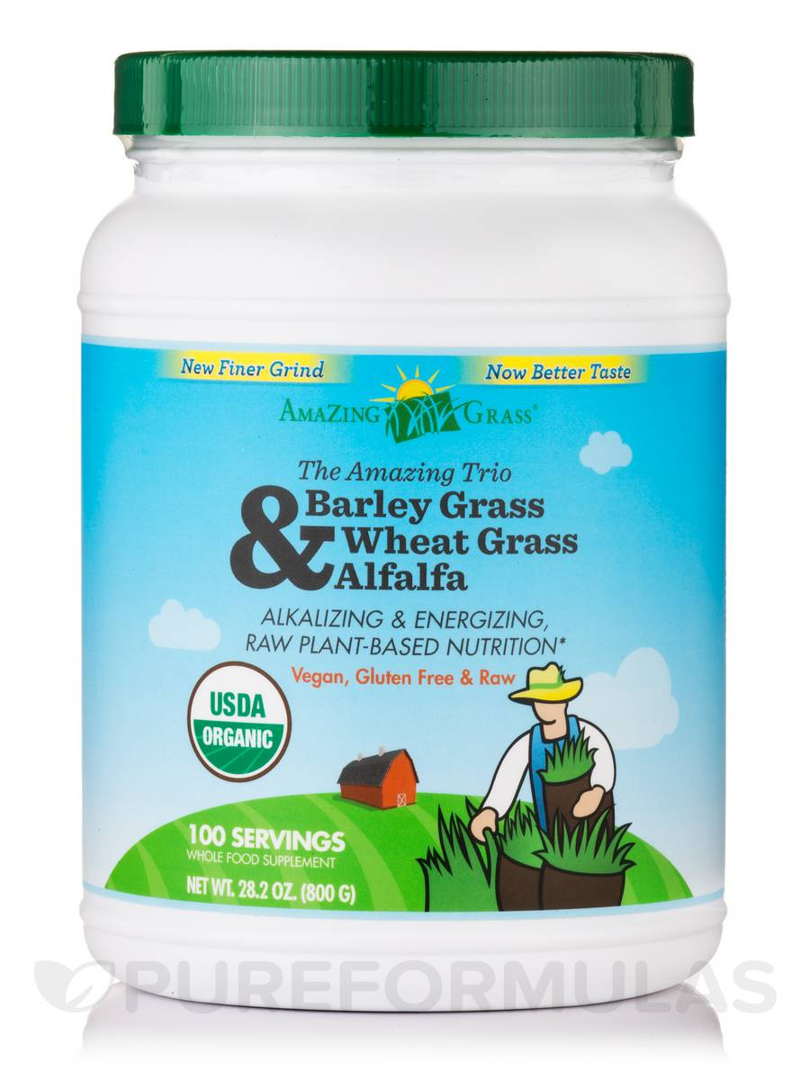 Amazing Trio Powder (Barley Grass, Wheat Grass, Alfalfa) - 100 Servings ( 28.2 oz / 800 Grams)