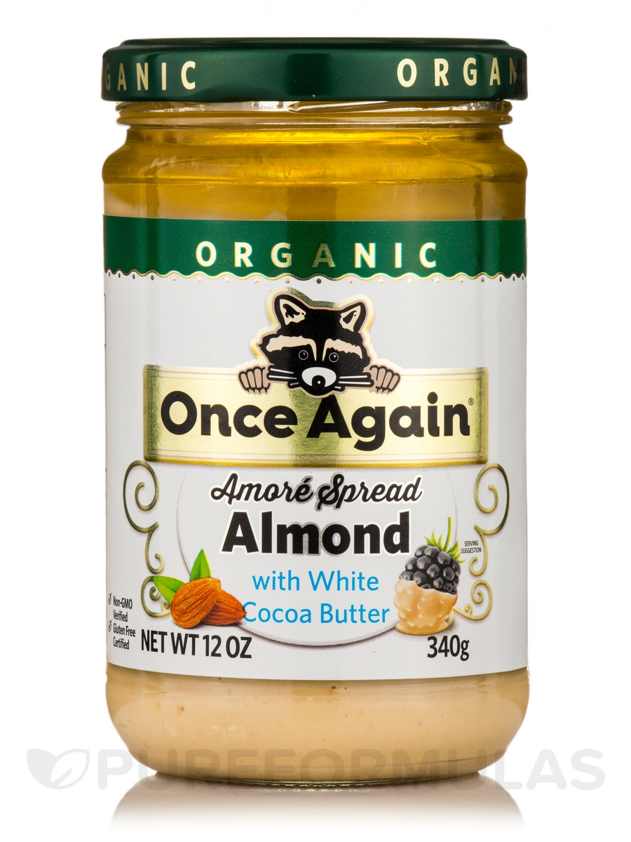 Amoré Organic Spread Almond with White Cocoa Butter - 12 oz (340 Grams)