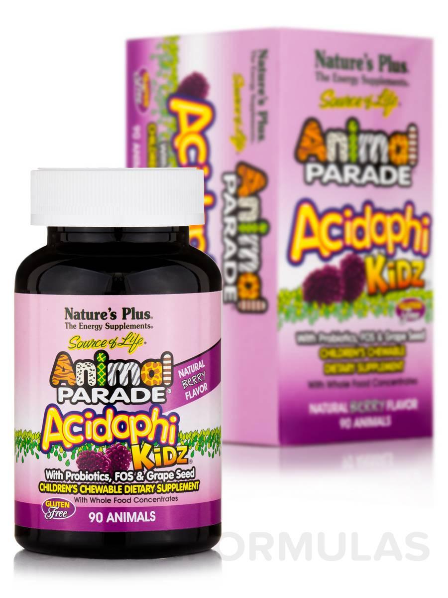 Animal Parade® AcidophiKidz® Children's Chewables, Natural Berry Flavor - 90 Chewable Tablets