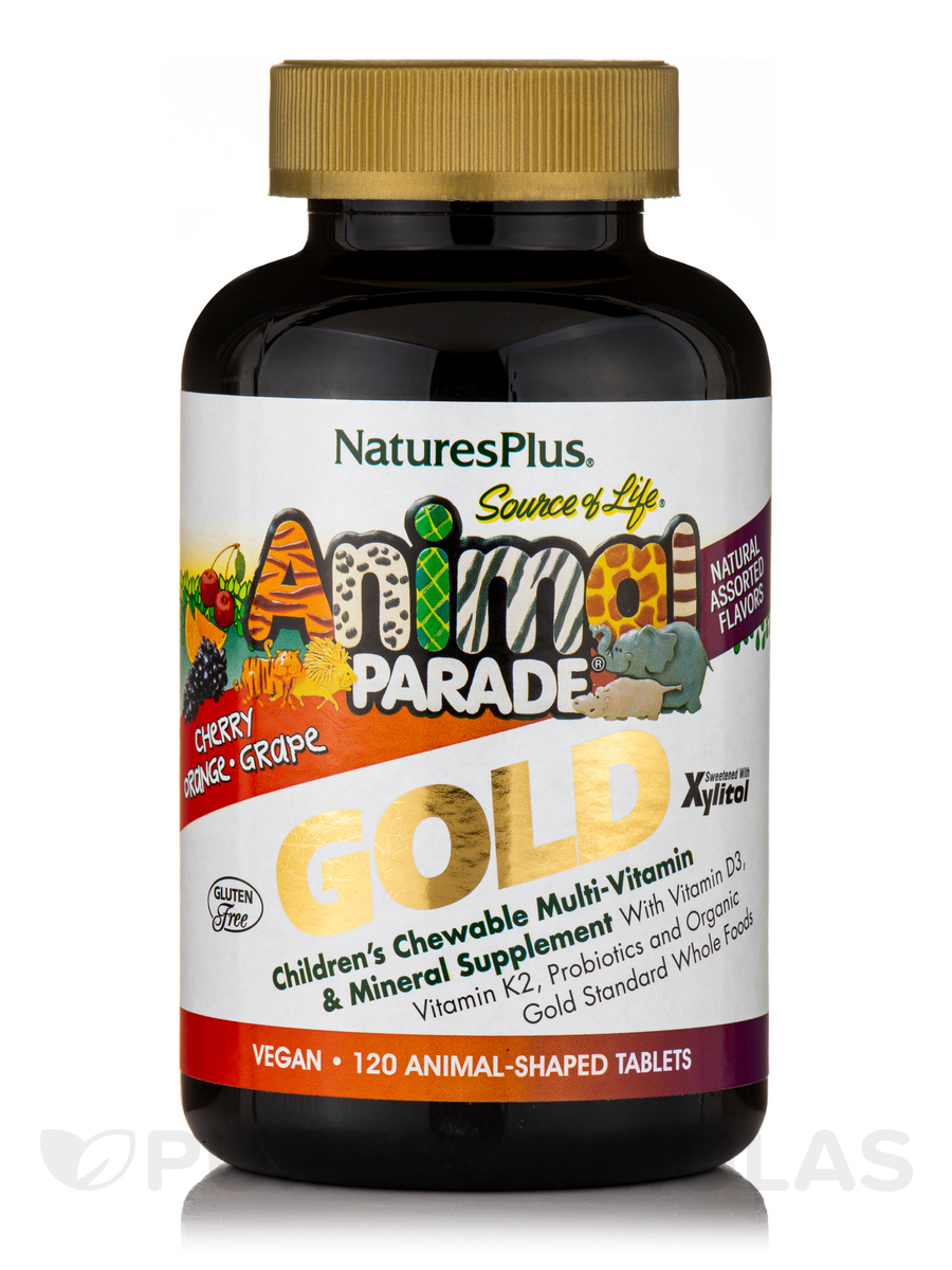 Animal Parade® GOLD Children's Chewable Multivitamin & Mineral Supplement (Cherry, Orange & Grape Flavors) - 120 Chewable Tablets