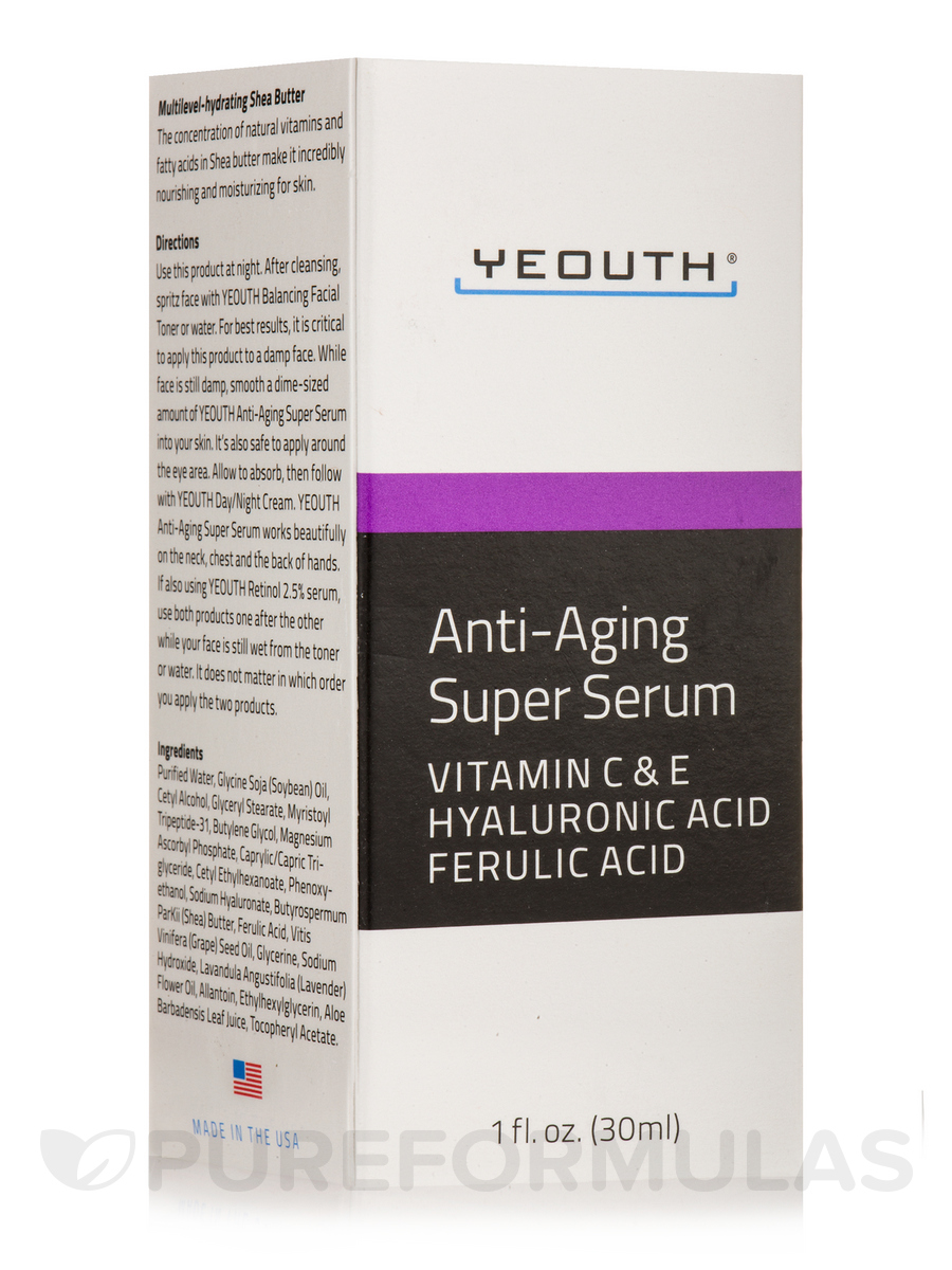 Anti-Aging Super Serum with Ferulic Acid, Hyaluronic Acid, Vitamin C & E - 1 fl. oz (30 ml)