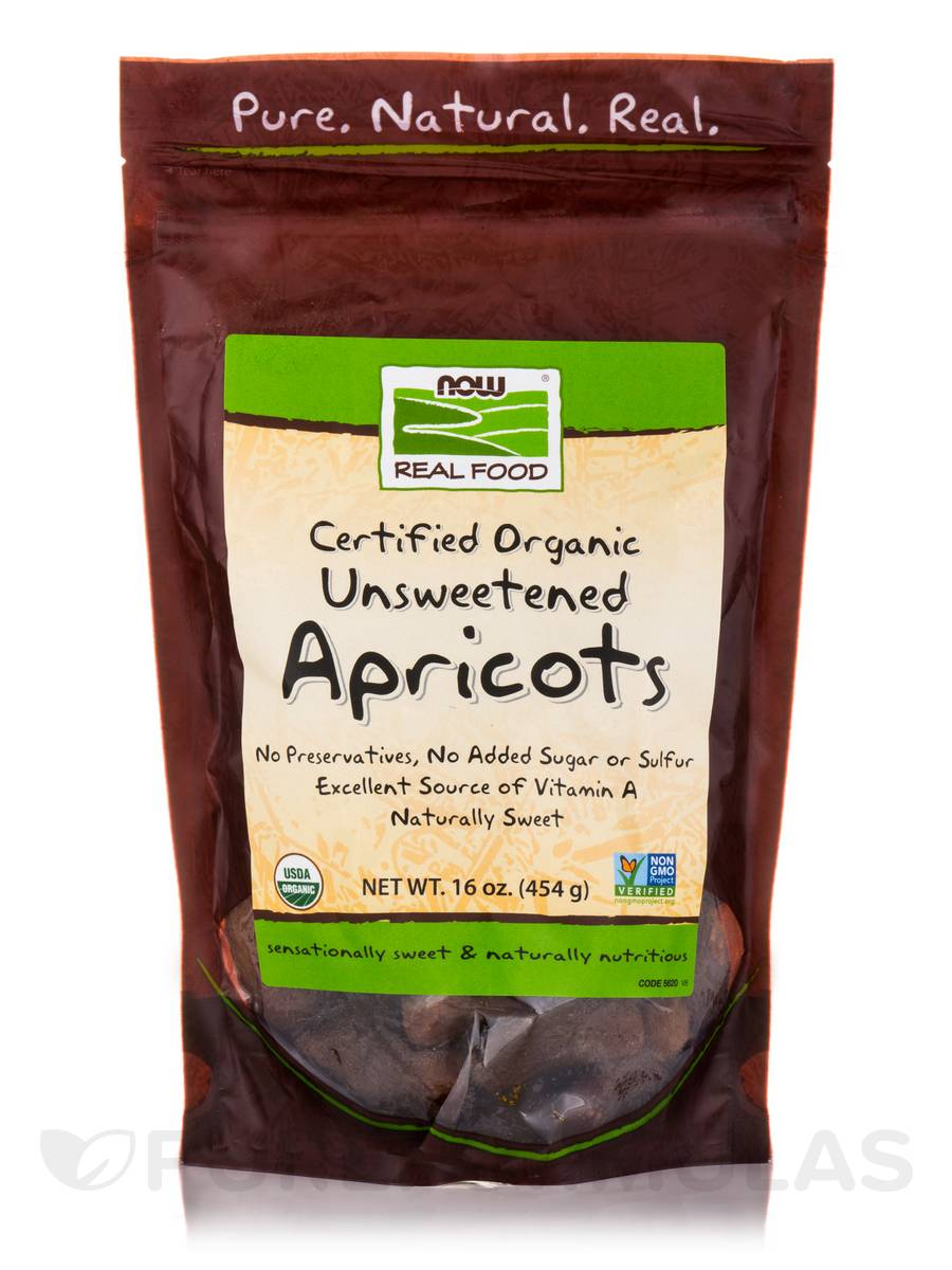 NOW® Real Food - Apricots (Certified Organic Unsweetened) - 16 oz (454 Grams)