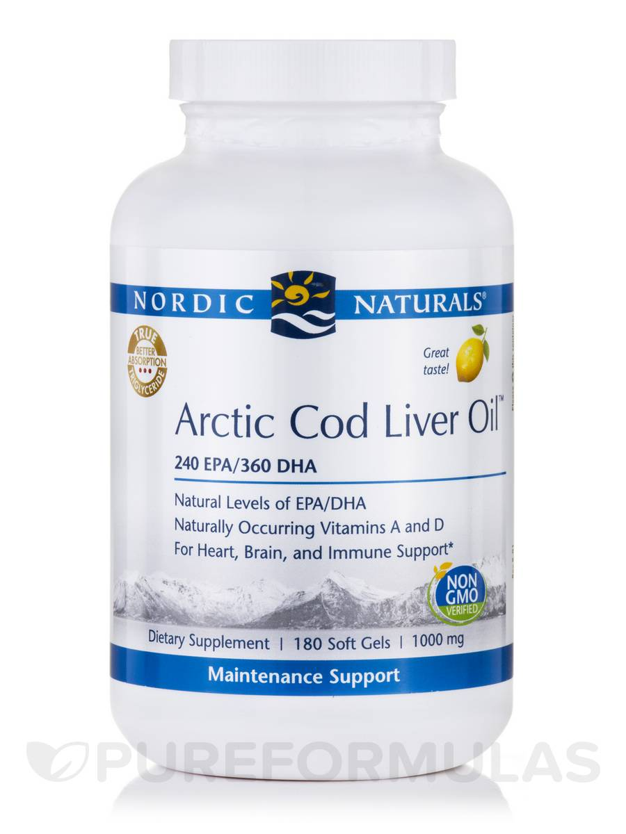 Arctic™ Cod Liver Oil 1000 mg, Lemon Flavor - 180 Soft Gels