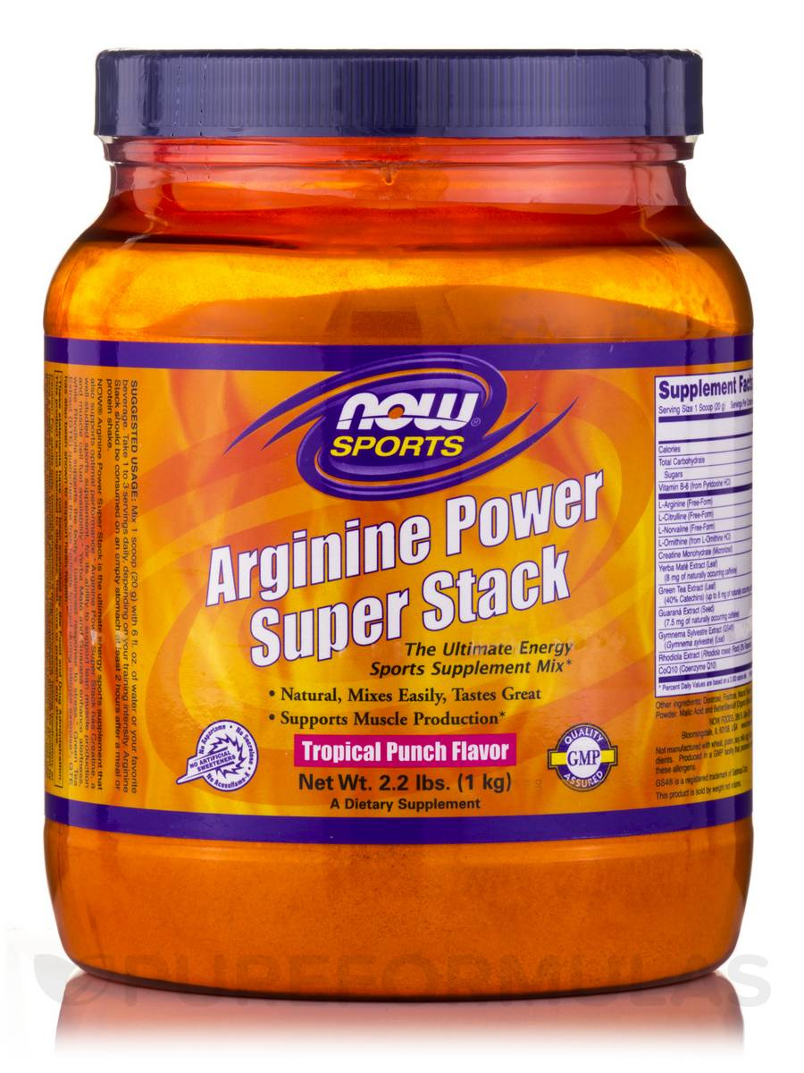 NOW® Sports - Arginine Power Super Stack, Tropical Punch Flavor - 2.2 lbs (1 kg)