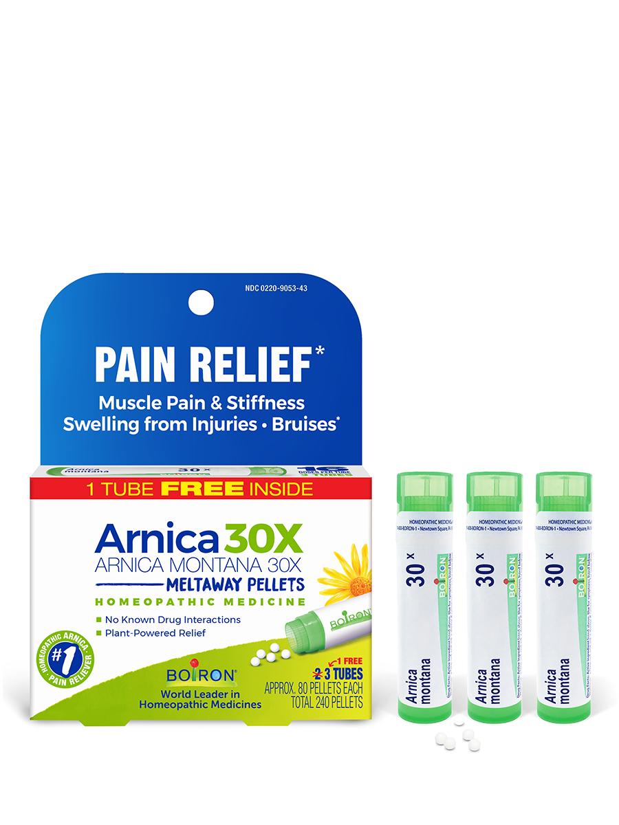 Arnica Montana 30X Pain Relief Bonus Care Pack - 3 Tubes (Approx. 80 Pellets Per Tube)