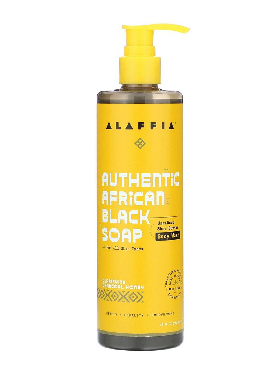 Authentic African Black Soap Body Wash, Clarifying Charcoal Honey - 12 fl. oz (354 ml)