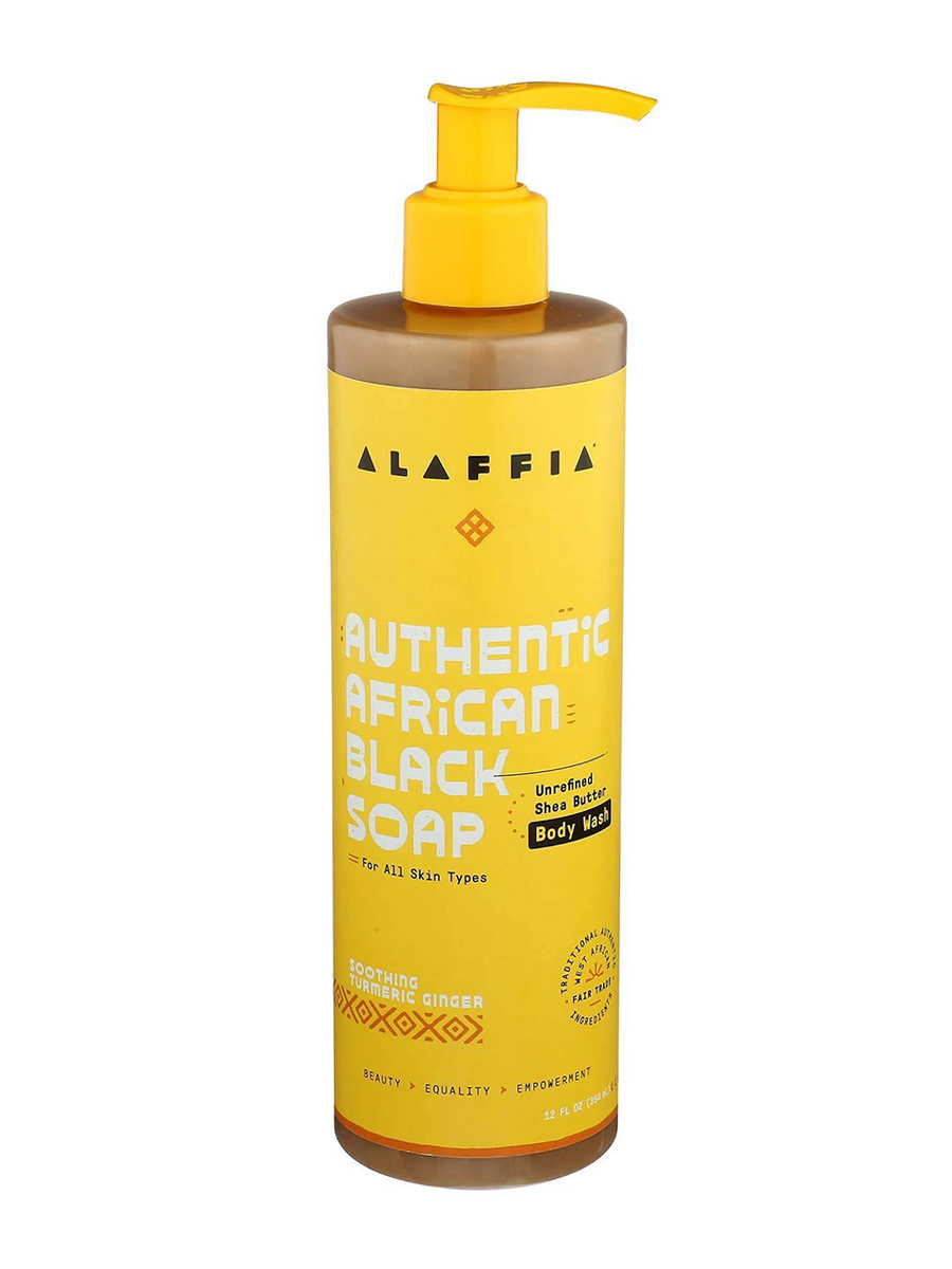Authentic African Black Soap Body Wash, Soothing Turmeric Ginger - 12 fl. oz (354 ml)