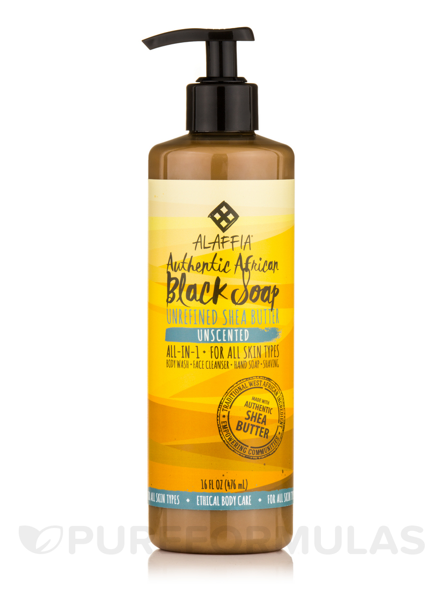 Authentic African Black Soap, Unscented - 16 fl. oz (476 ml)