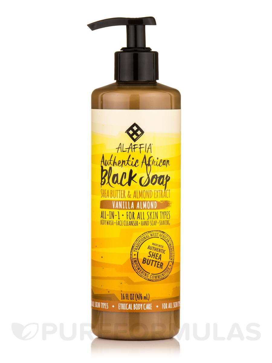 Authentic African Black Soap, Vanilla Almond - 16 fl. oz (476 ml)
