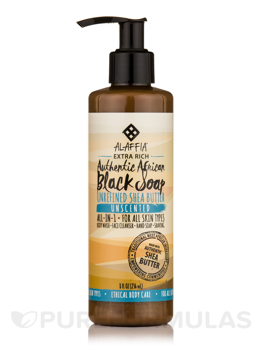 Authentic African Extra Rich Black Soap, Unscented - 8 fl. oz (236 ml)