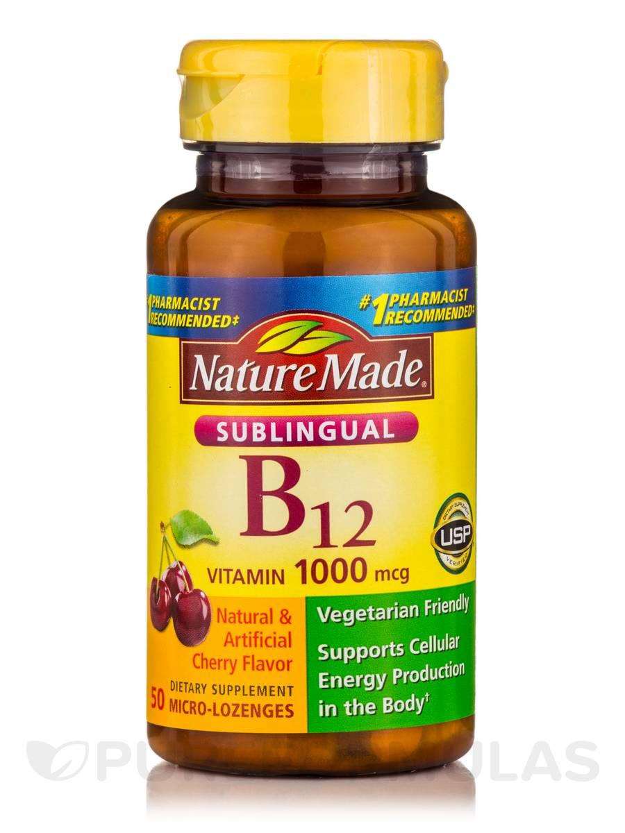 Sublingual Vitamin B12 1000 mcg, Cherry Flavor - 50 Micro-Lozenges