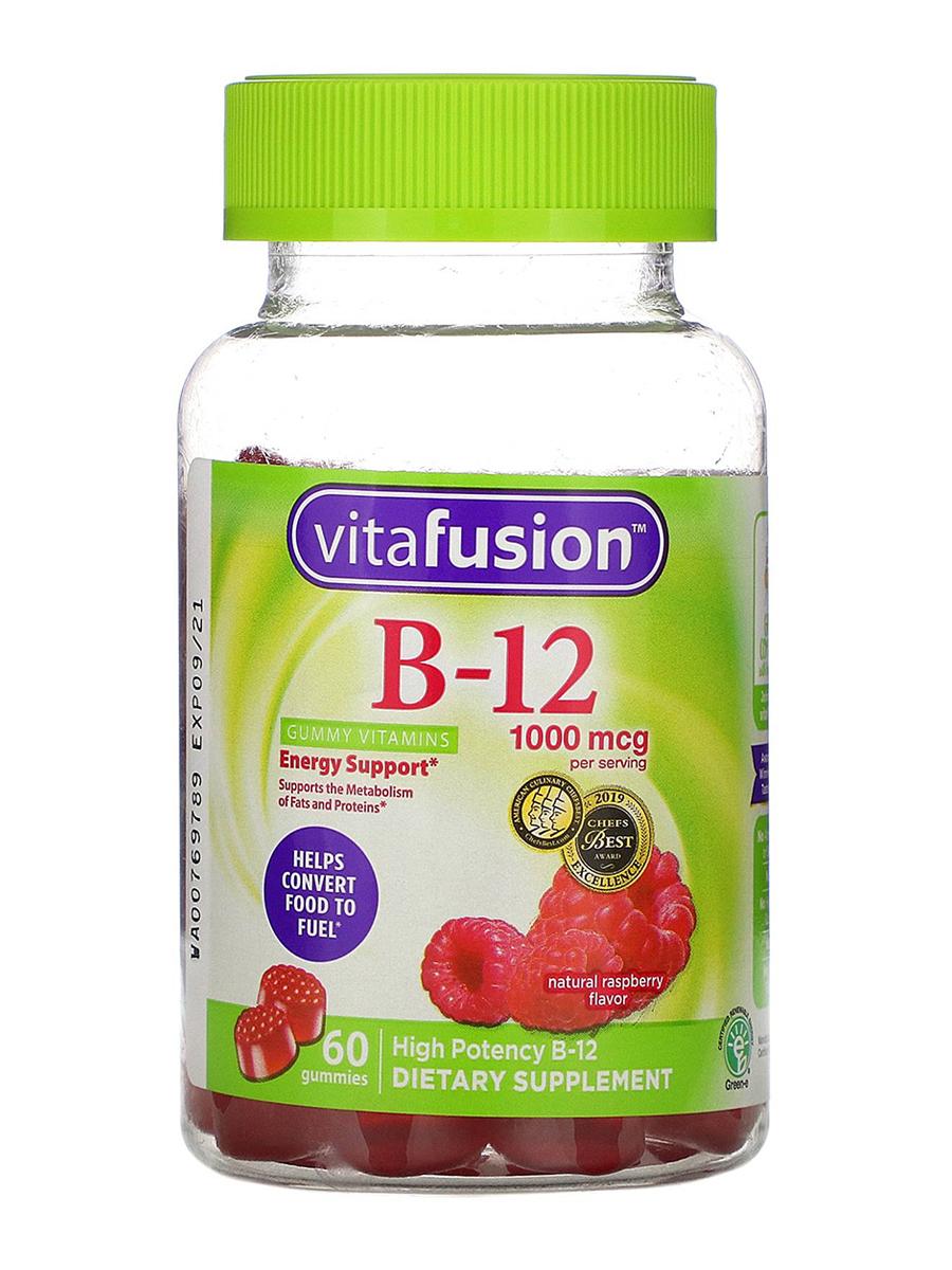B-12 1000 mcg, Natural Raspberry Flavor - 60 Gummies