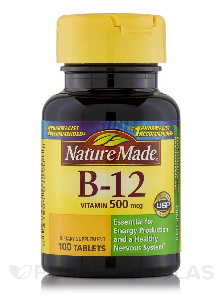 B-12 500 mcg - 100 Tablets