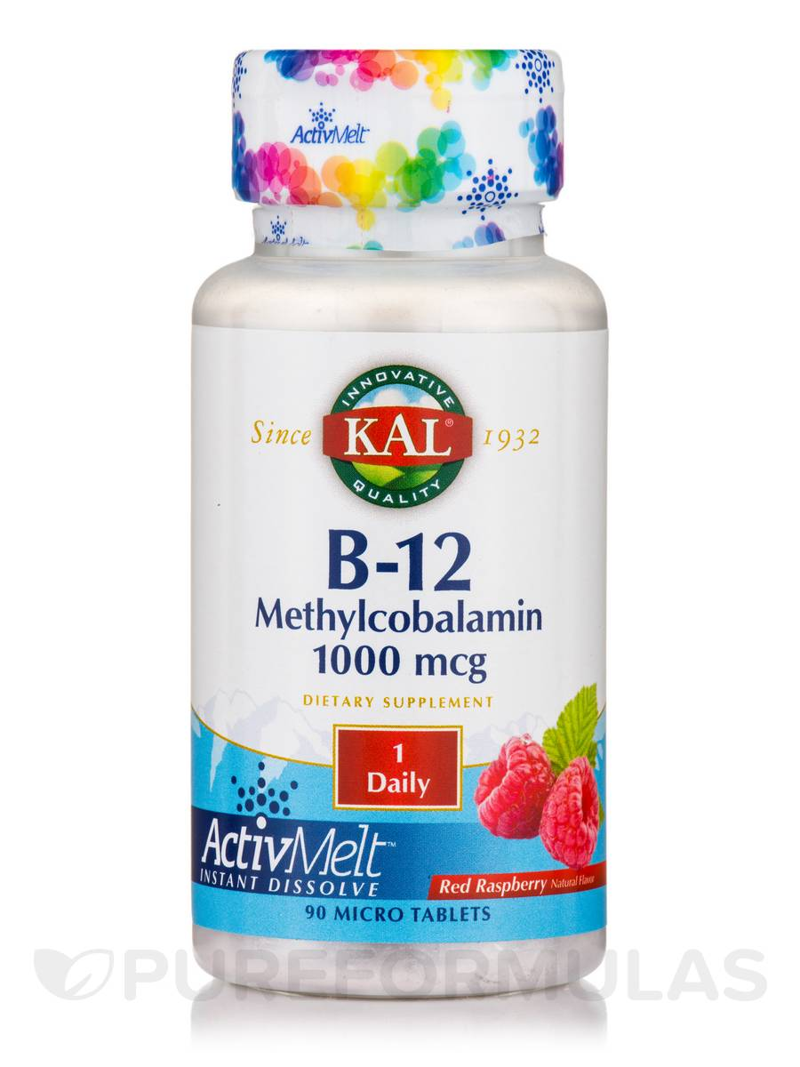 B-12 Methylcobalamin ActivMelt™ 1000 mcg, Natural Raspberry Flavor - 90 Micro Tablets